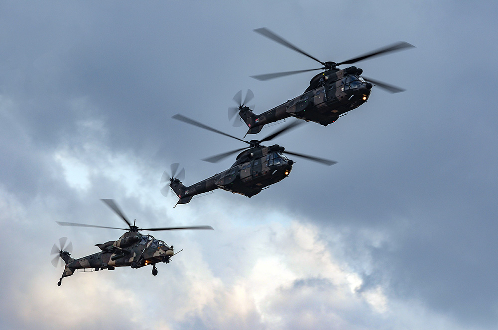 Oryx and Rooivalk helicopter formation